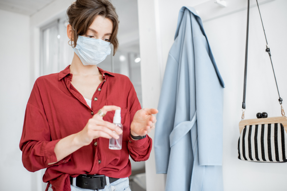 sanitizing your hands and clothes
