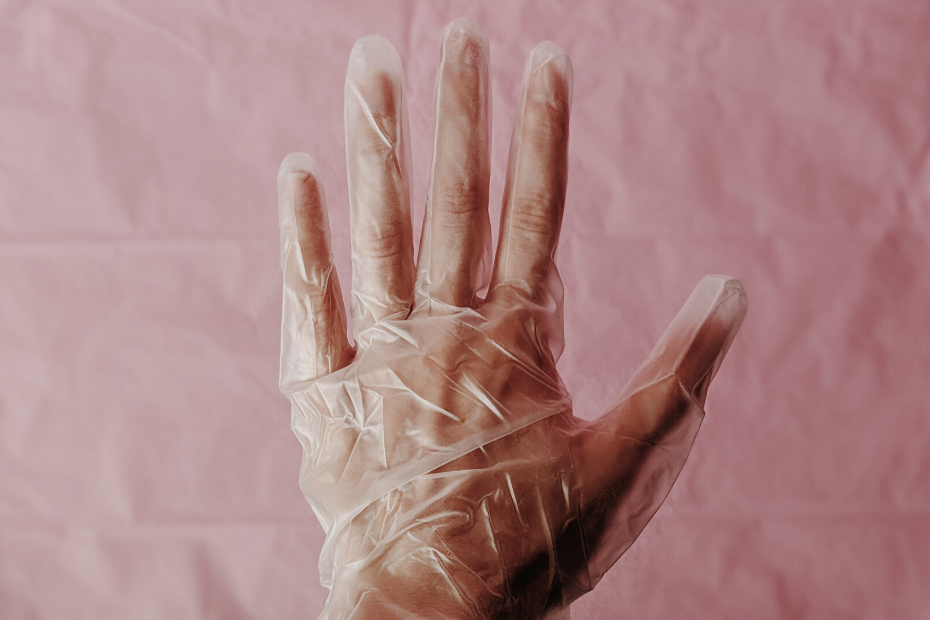 a hand with a glove