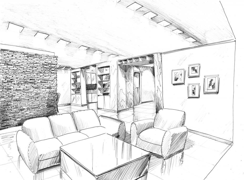 sketch of pool villa opera